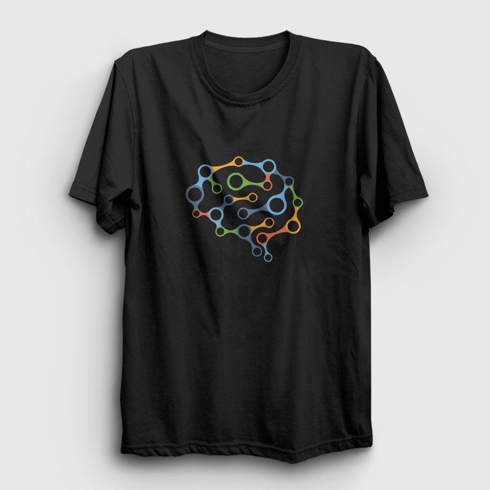brain chain tişört siyah