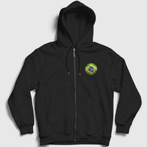 Brezilya Bayrağı Fermuarlı Kapşonlu Sweatshirt siyah