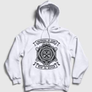 Brothers in Arms Kapşonlu Sweatshirt beyaz