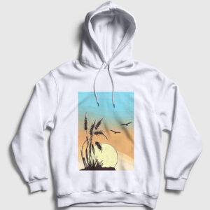 Buğday Kapşonlu Sweatshirt beyaz