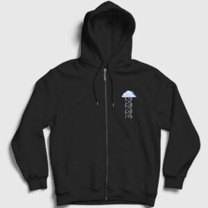 Bulut ve Yağmur Fermuarlı Kapşonlu Sweatshirt siyah
