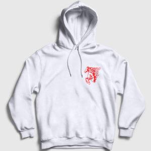 Burning Horse Kapşonlu Sweatshirt beyaz