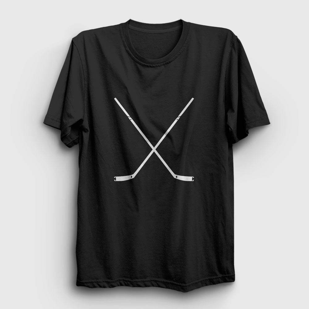 buz hokeyi tişört - buz hokeyi sopası - siyah