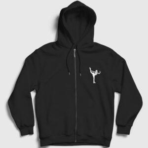 Buz Pateni Figür Fermuarlı Kapşonlu Sweatshirt siyah