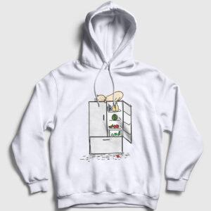 Buzdolabı ve Kedi Kapşonlu Sweatshirt beyaz