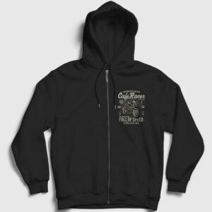 Cafe Racer Fermuarlı Kapşonlu Sweatshirt siyah