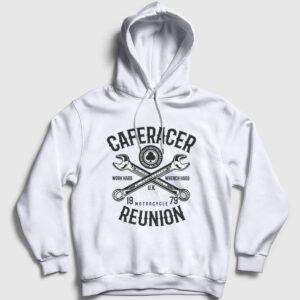 Caferacer Kapşonlu Sweatshirt beyaz