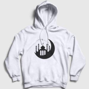 Cami ve Hilal Kapşonlu Sweatshirt beyaz
