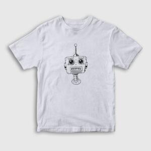 Cartoon Robot Çocuk Tişört beyaz