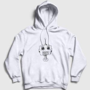 Cartoon Robot Kapşonlu Sweatshirt beyaz