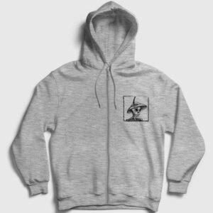 Catrina Kurukafa Fermuarlı Kapşonlu Sweatshirt gri kırçıllı