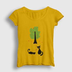 Cats In Love Kadın Tişört sarı