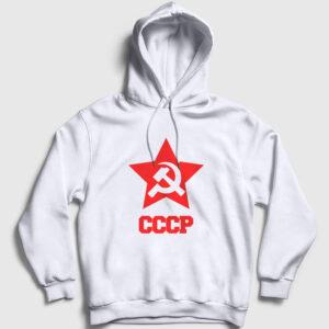 CCCP Kapşonlu Sweatshirt beyaz