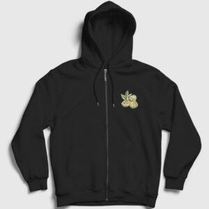 Ceviz Fermuarlı Kapşonlu Sweatshirt siyah