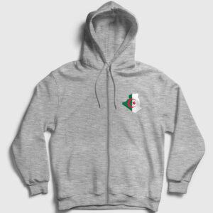 Cezayir Fermuarlı Kapşonlu Sweatshirt gri kırçıllı