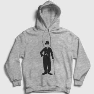 Charlie Chaplin Kapşonlu Sweatshirt gri kırçıllı