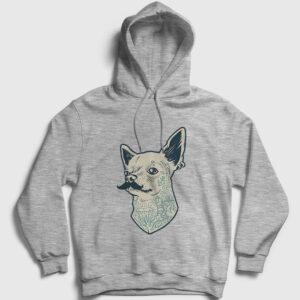 Chihuahua Kapşonlu Sweatshirt gri kırçıllı