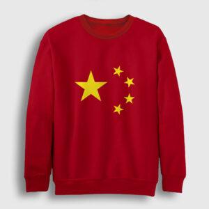 Çin Bayrağı Sweatshirt kırmızı