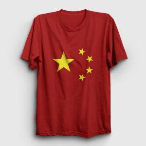 Çin Bayrağı Tişört kırmızı