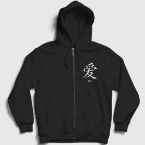 Çince Aşk Fermuarlı Kapşonlu Sweatshirt siyah