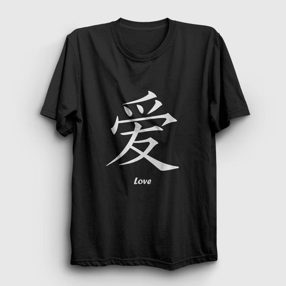 çince aşk tişört siyah