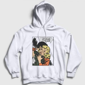 Çizgi Roman Depresyon Kapşonlu Sweatshirt beyaz
