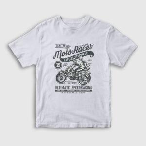 Classic Moto Racer Çocuk Tişört beyaz