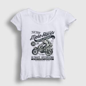Classic Moto Racer Kadın Tişört beyaz