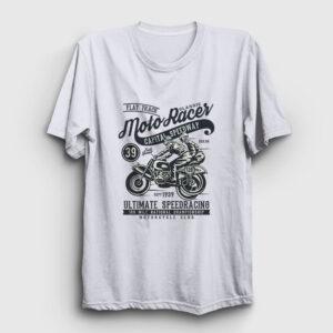 Classic Moto Racer Tişört beyaz