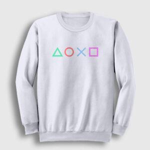 Controller Buttons Sweatshirt beyaz