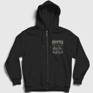 Custom Chopper Fermuarlı Kapşonlu Sweatshirt siyah