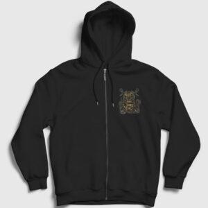Dalgıç Ahtapot Fermuarlı Kapşonlu Sweatshirt siyah