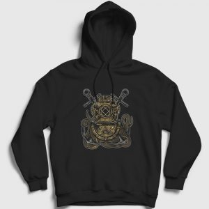 Dalgıç Ahtapot Kapşonlu Sweatshirt siyah