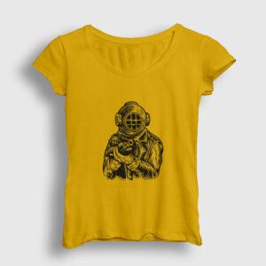 Dalgıç Asker Kadın Tişört sarı