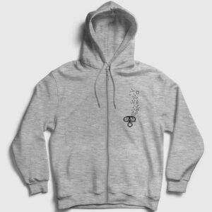 Dalgıç Fermuarlı Kapşonlu Sweatshirt gri kırçıllı