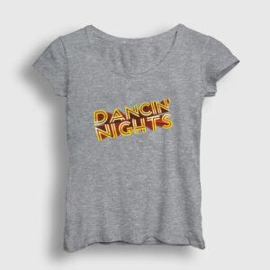 Dancin Nights Kadın Tişört gri kırçıllı