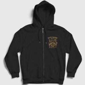Death Machine Fermuarlı Kapşonlu Sweatshirt siyah