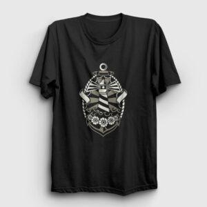 Deniz Feneri ve Çapa Tişört siyah