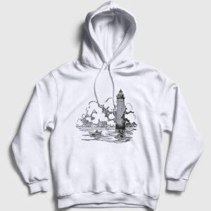 Deniz Feneri ve Sandal Kapşonlu Sweatshirt beyaz