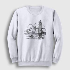 Deniz Feneri ve Sandal Sweatshirt beyaz