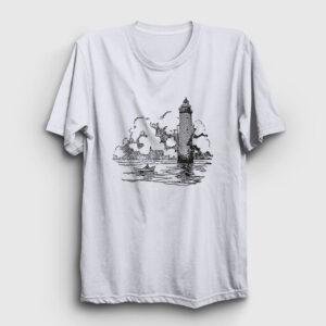 Deniz Feneri ve Sandal Tişört beyaz