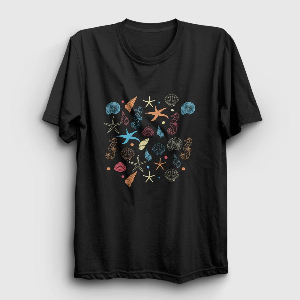 deniz kabukları tişört siyah