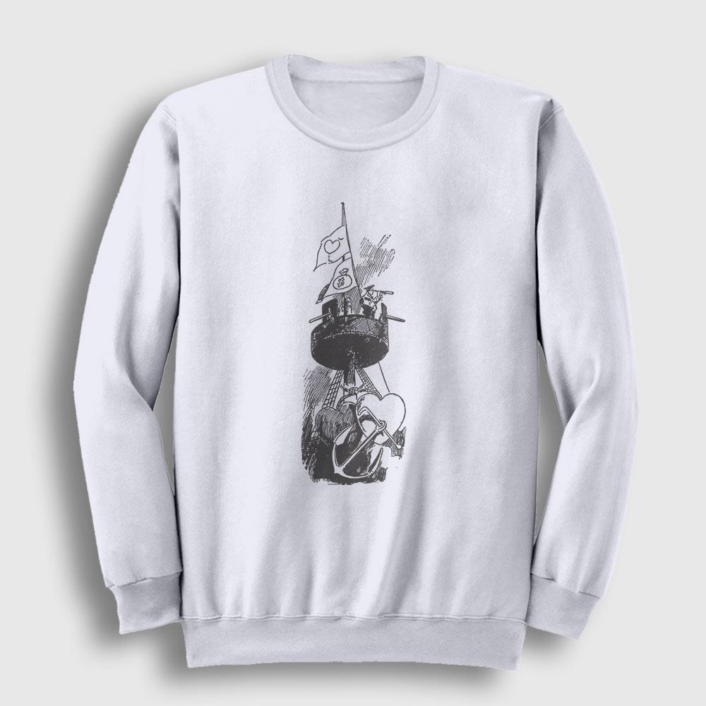Denizci Sweatshirt beyaz