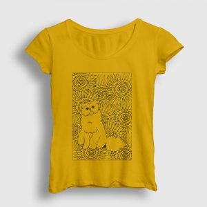 Desenli Kedi Kadın Tişört sarı
