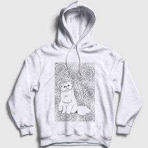 Desenli Kedi Kapşonlu Sweatshirt beyaz