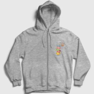 Devilen Fincanlar Fermuarlı Kapşonlu Sweatshirt gri kırçıllı