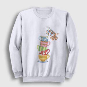 Devilen Fincanlar Sweatshirt beyaz