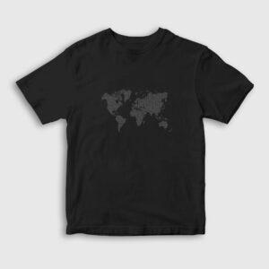 Dijital Dünya Haritası Çocuk Tişört siyah