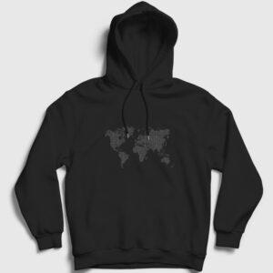 Dijital Dünya Haritası Kapşonlu Sweatshirt siyah