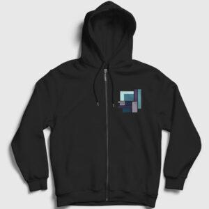 Dikdörtgenler Fermuarlı Kapşonlu Sweatshirt siyah